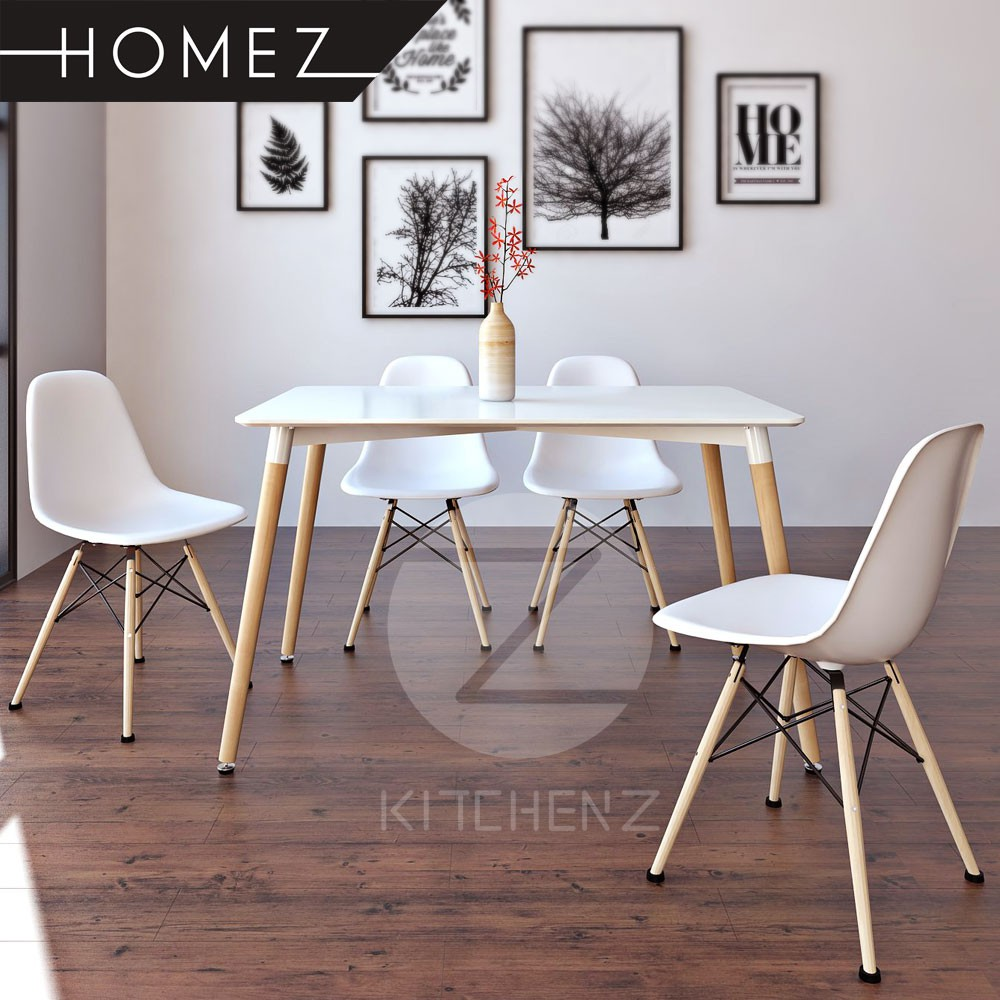 KitchenZ Modern Contemporary Dining Table Set HMZ-FN-DT-T01(12070)-WT+A304B with 4 Chairs