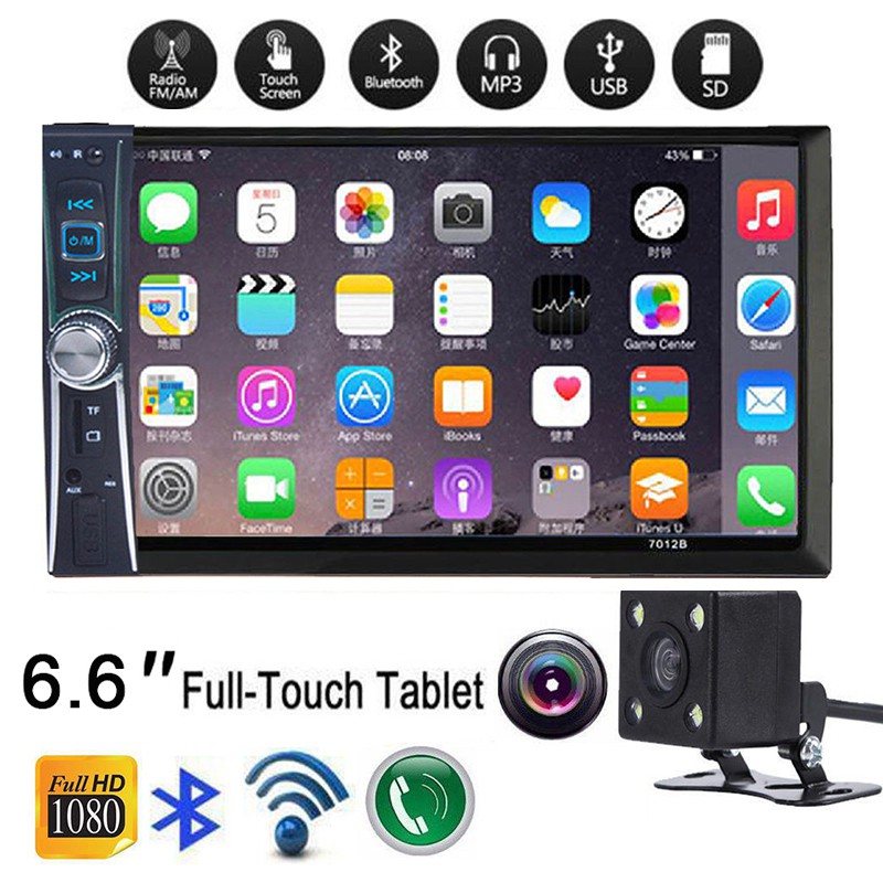 2-DIN 6 6'' HD Bluetooth Touch Screen Car Stereo Radio MP5 Player + Camera  Black