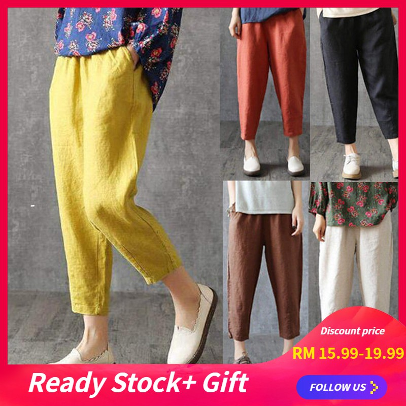 X-Future Women Summer High Waist Linen Straight Leg Wide Leg Yoga Palazzo Pants