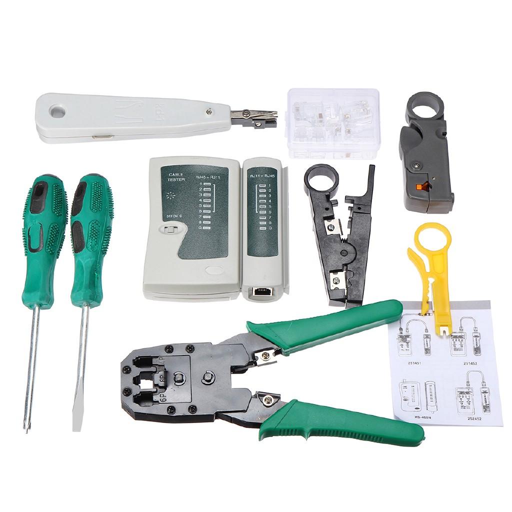 HOT RJ45 RJ11 LAN Network Cable Tester Crimper Hand Tool Stripper Kit CAT5 CAT6