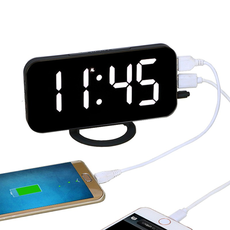 EAAGD Electronic LED Digital Desktop Decoration Alarm Clock with Dual USB  Port