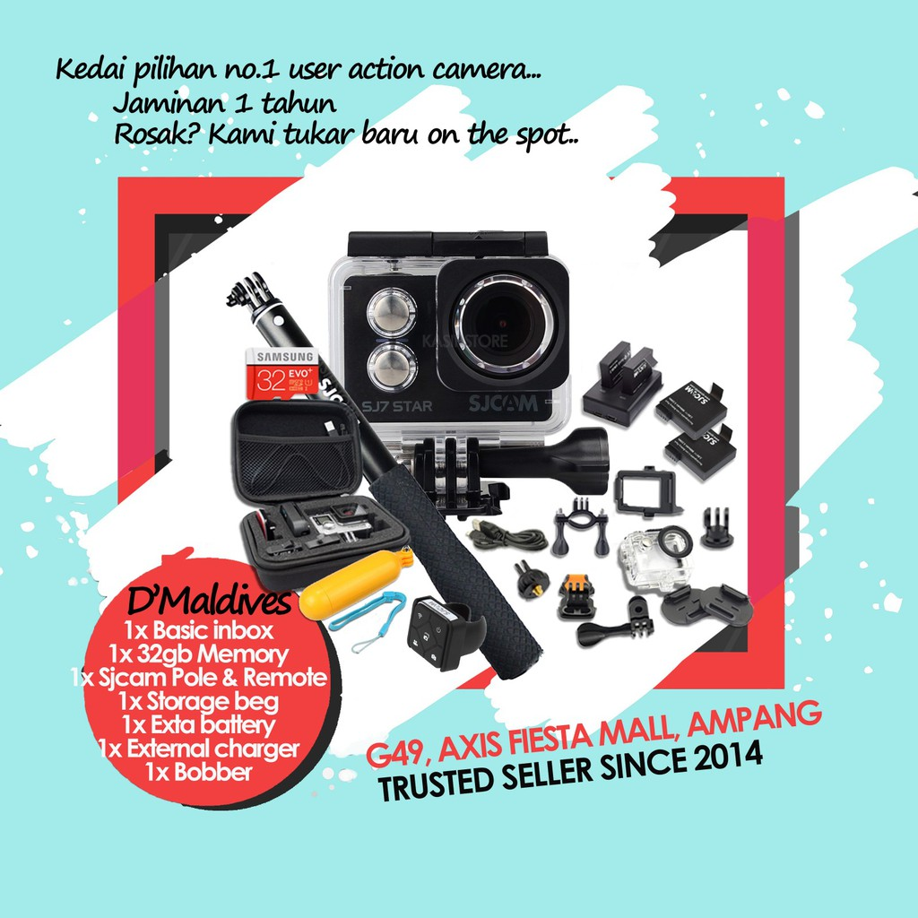 Original Yi Malaysia Store Lite Action Camera Combo Set Shopee Xiaomi Xiaoyi Dome Cctv 1080 1080p Full Hd International Mmc 16gb