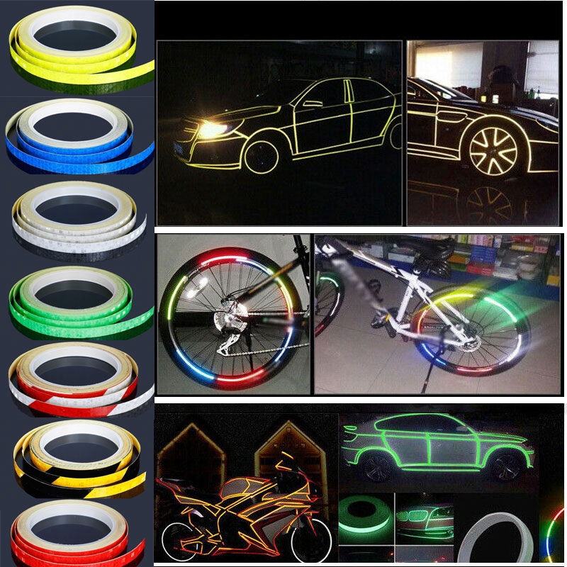 Bicycle Cycling Bike Reflective Stickers Hi Vis Viz Safety DIY Reflector Tape 8M