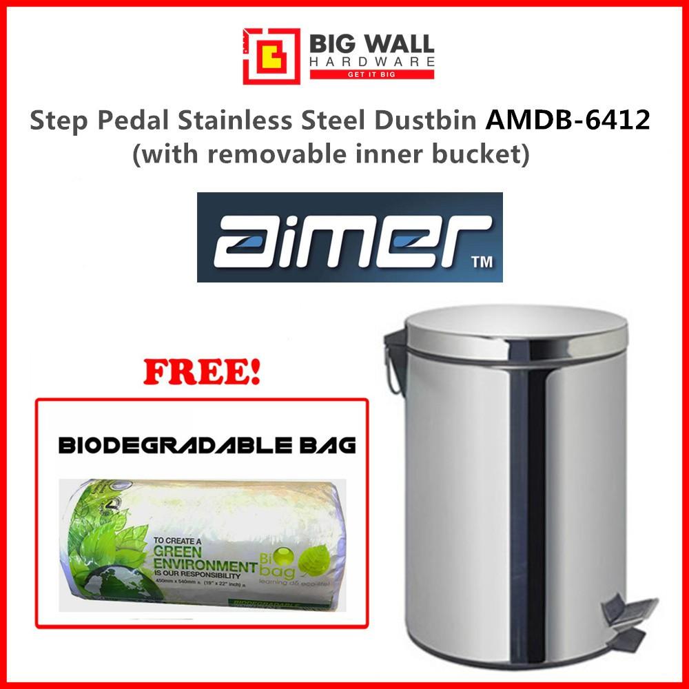 Step Pedal Stainless Steel Dustbin Aimer AMDB-6412 12L Grade SUS 401 & Biodegradable Trash Bag (Tong Sampah)