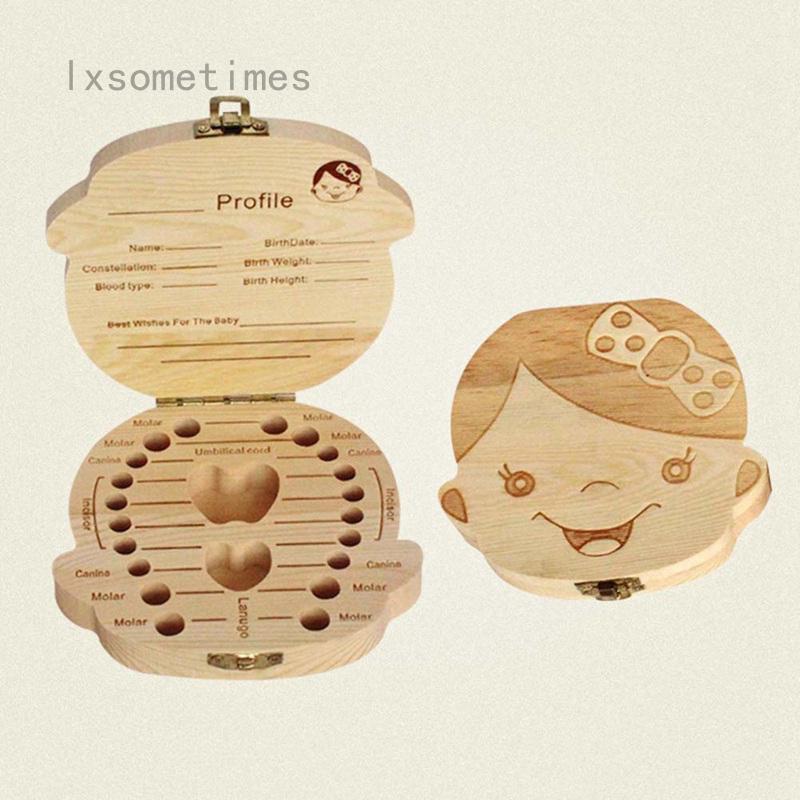 New Kids Boy/&Girl Tooth Box organizer for baby Save Milk teeth Wood Storage Box