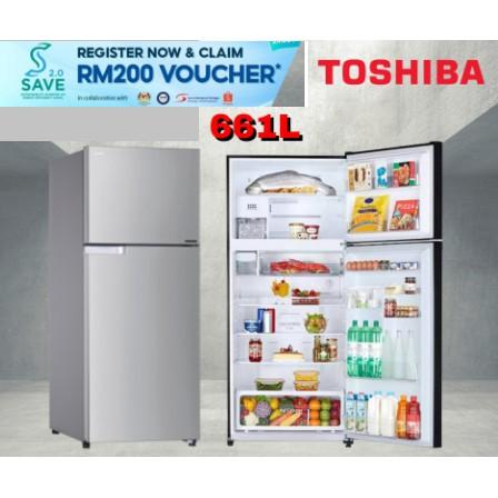 [FREE SHIPPING] Toshiba 661L 2-DOORS INVERTER REFRIGERATOR GR-A66M(S)