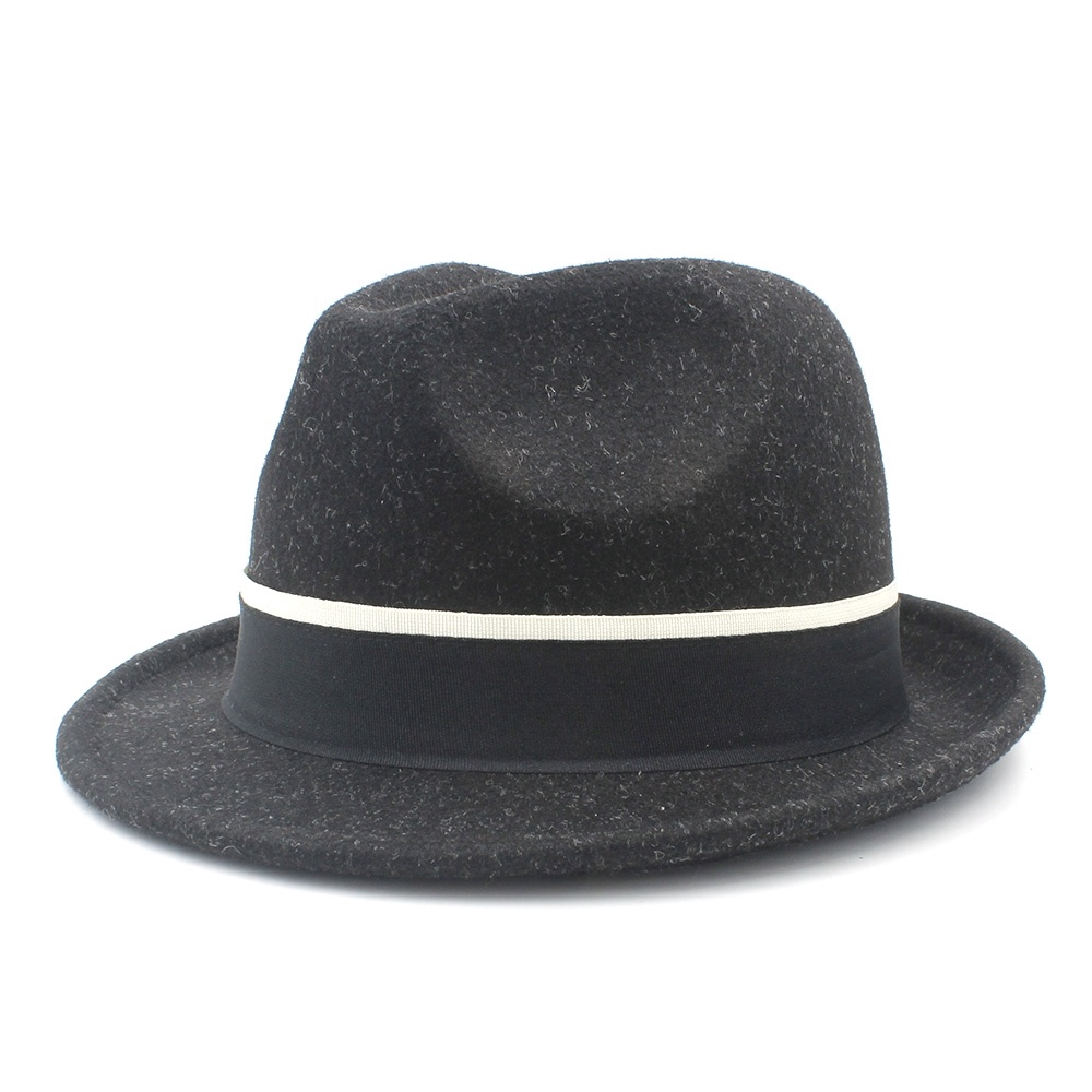 Trilby Hat gangster style hat dark grey with stripes one size 57//58cm