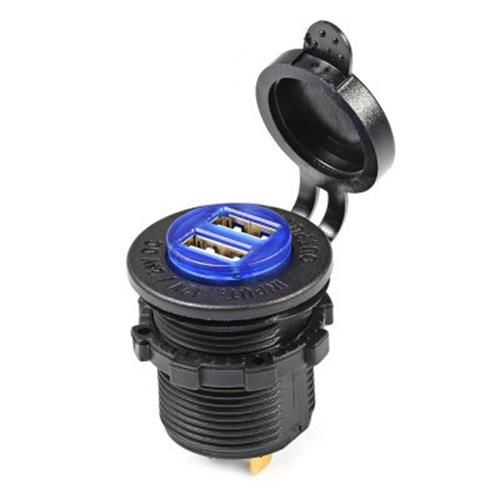 C941 5V 4.2A DOUBLE USB VEHICLE POWER PLUG BLUE WORK LIGHT WATER RESISTANTSOCKET