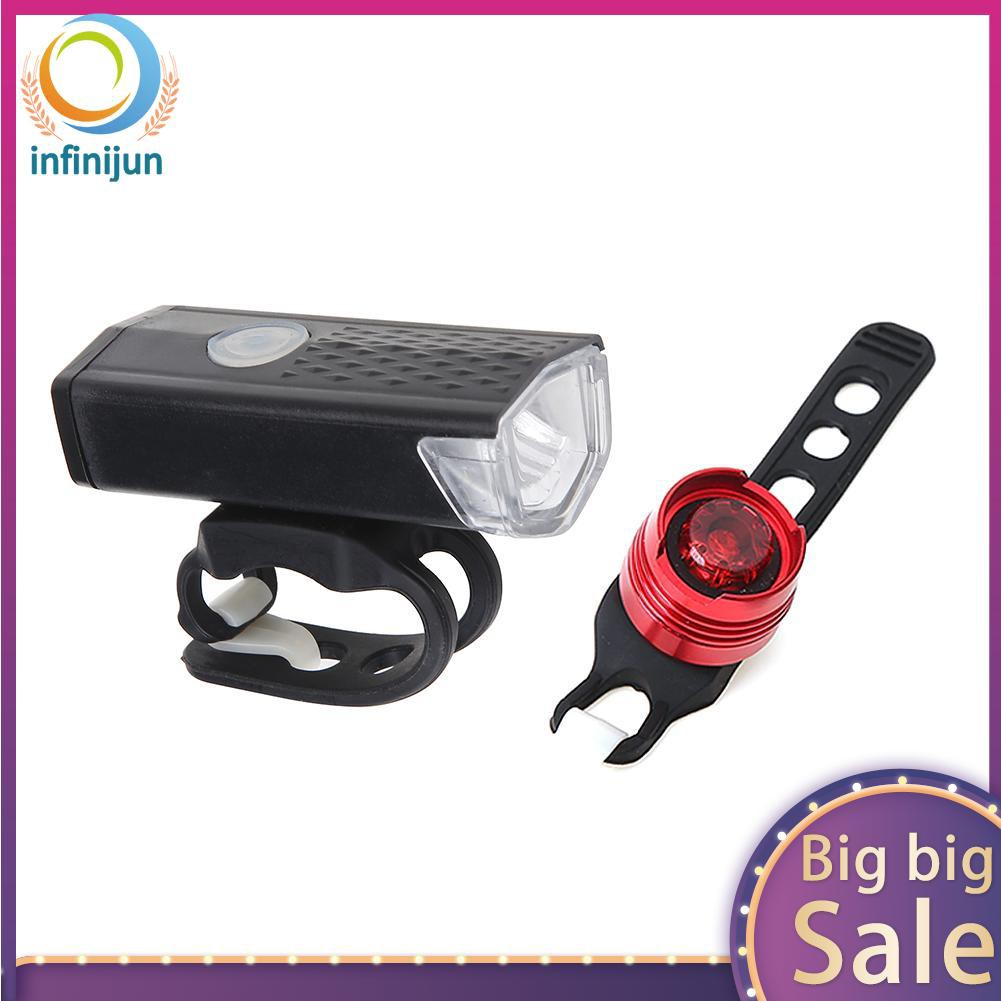 USB Rechargeable Bicycle Headlight Waterproof LED Bike Light With Bell Horn YK