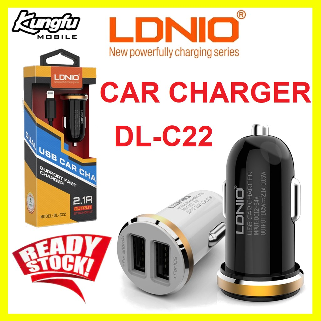 LDNIO DL-C22 5V 2.1A 2 USB Car Charger With Data & Charging Cable