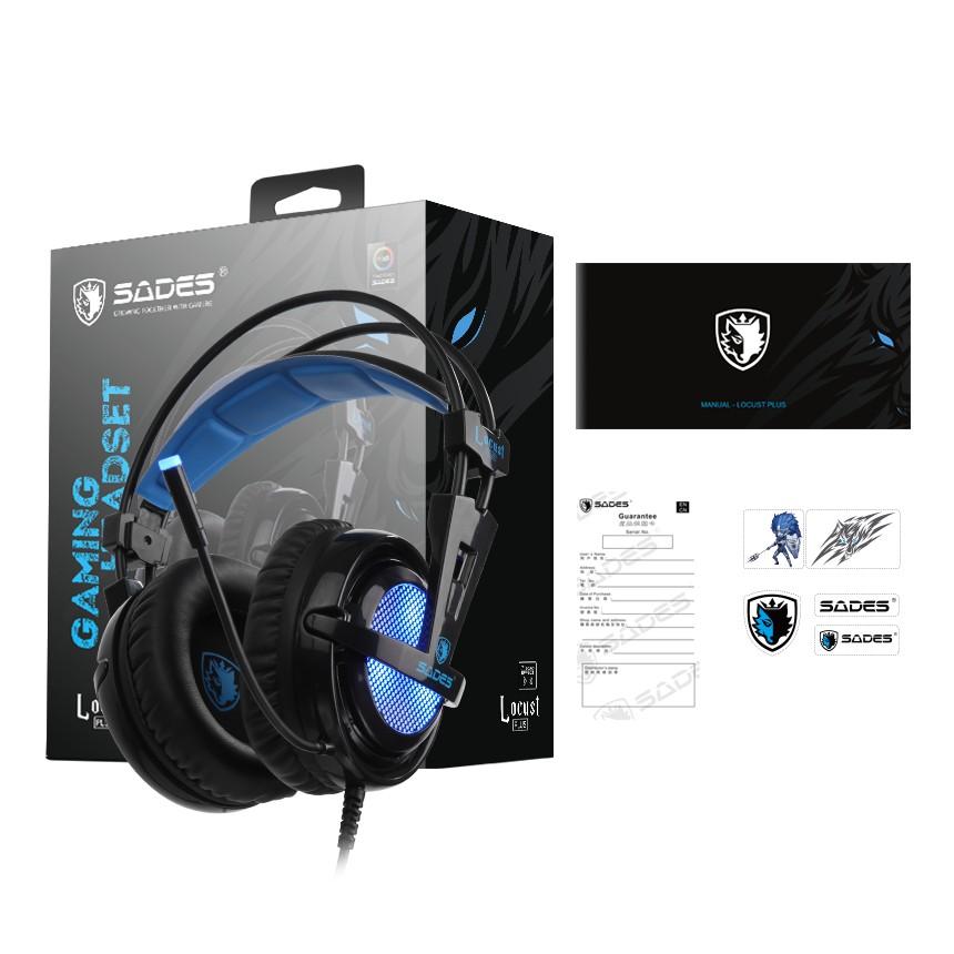 {SD-LOCUST-PLUS} Sades Locust Pluse PC PCB Gaming Headset  - PS4/ PS5,XBOX,NS,PC,Mobile (Blue)