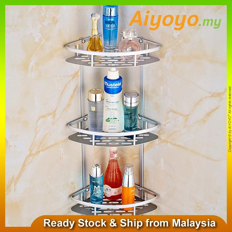 3 Tier Layers Corner Wall Mounted Triangle Shampoo Storage Shelves Shelf Holder Rack Basket Organiser Hooks Hanger Kitch