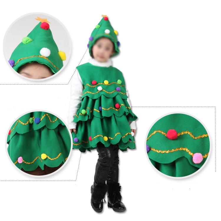 Toddler Christmas Tree Costume.Children Christmas Trees Costume Christmas Party Nylon Hat