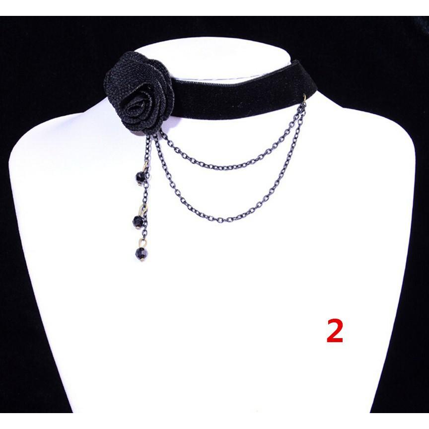 5X 80s 90s Boho New Tattoo Choker Stretch Necklace Black Retro Vtg Elastic Kj