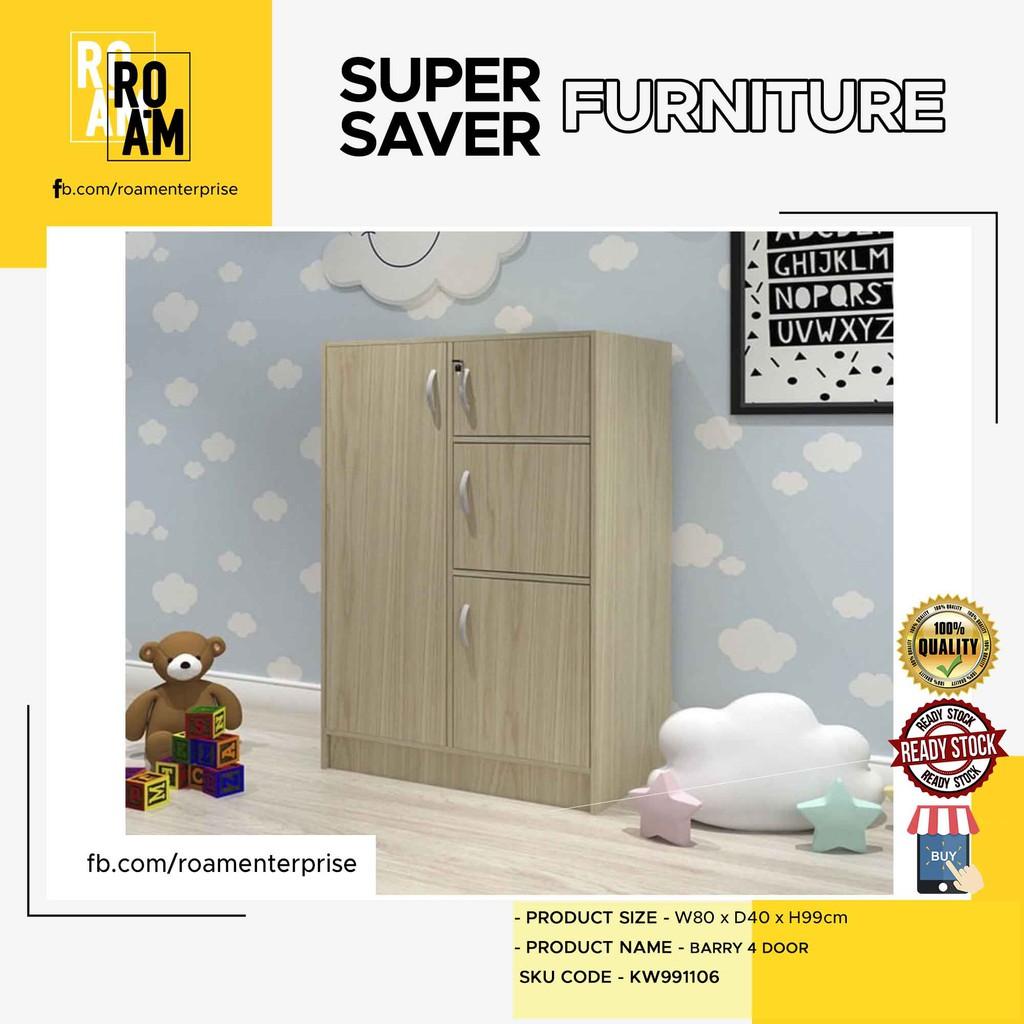 BARRY 4 door children wardrobe almari baju budak murah ikea kayu pakaian - WHITE OAK COLOR
