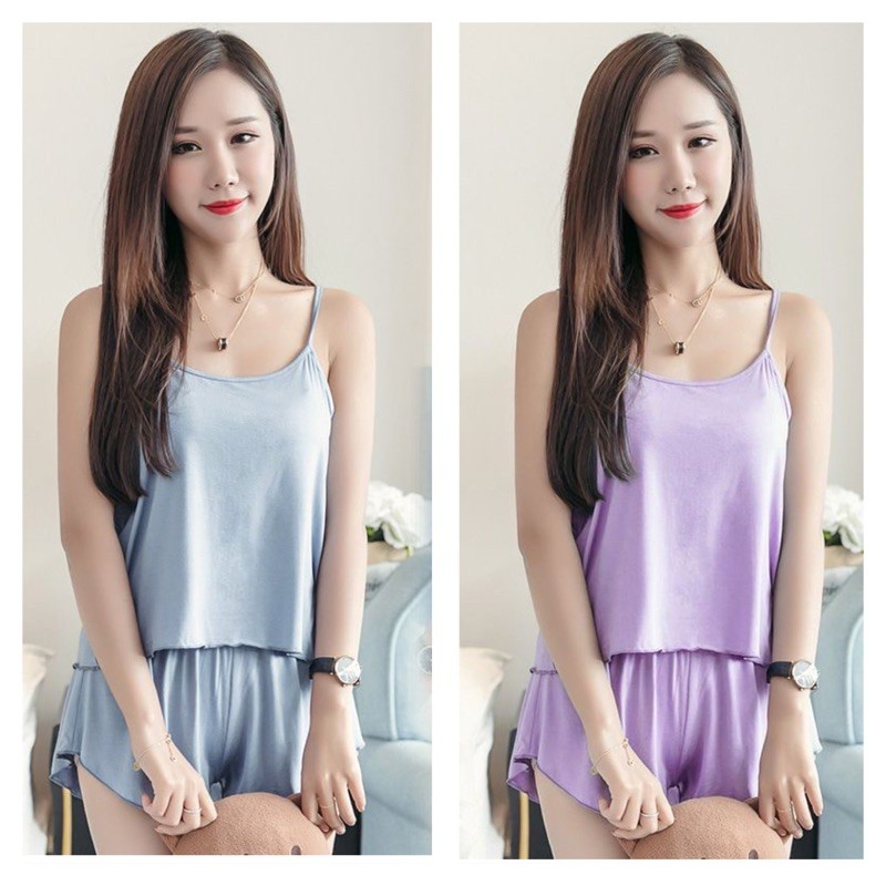 [READY STOCK] WOMEN PLAIN COTTON SLEEVELESS SLEEPWEAR PYJAMAS BAJU TIDUR WANITA SET - FREE SIZE(ABLE FIT UP TO SIZE L)