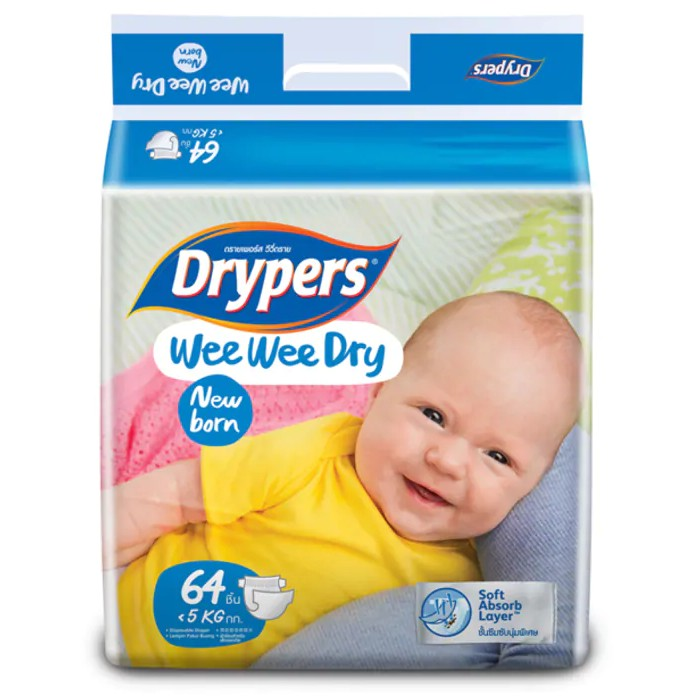 DRYPERS SOFT NEW BORN 64