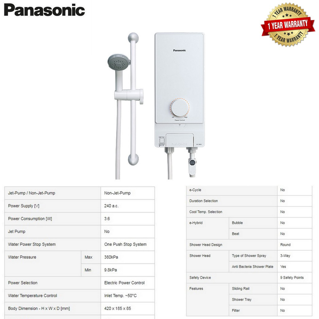 Panasonic Non-Jet Pump Water Heater - DH-3MS1