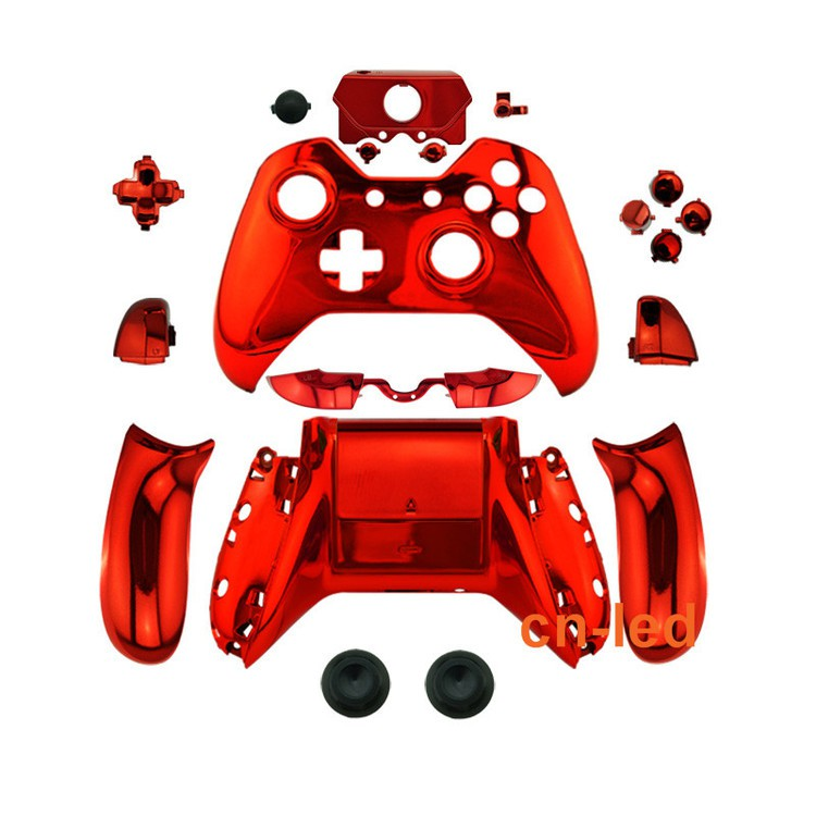 Xbox One Chrome RED Shell housing with Button For Controller - 3.5 Port T6 & T8