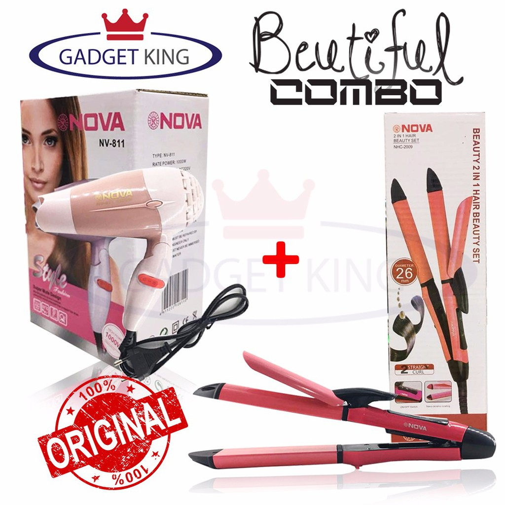 NOVA NHC-8890 3 in1 Multifunction Perfect Curl Staylish Hair/Curler/ Straightener | Shopee Malaysia