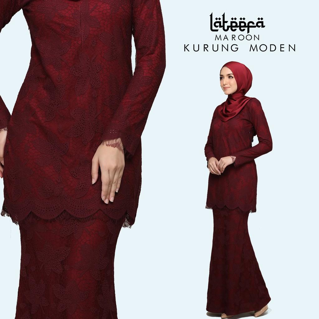Baju Kurung Raya 2020 Lateefa Maroon Shopee Malaysia
