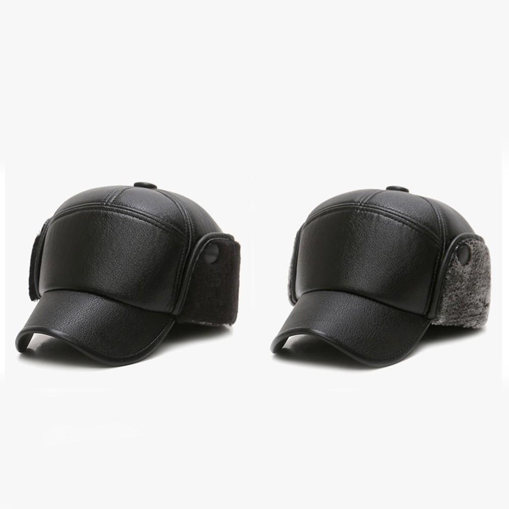 3f1850141 Fashion Men Cotton Earflap Baseball Hat Winter Warm Outdoor Sports Leather  Earmuffs Cap