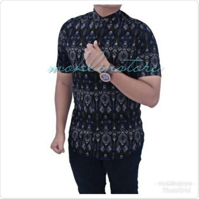 N.Song Black Kemeja Batik Songket Lelaki Lengan Pendek Slim Fit