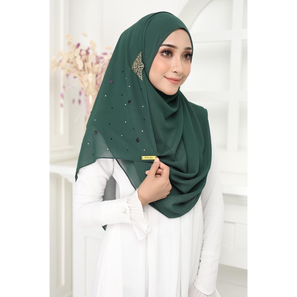 Luxury tudung Jawhara shawl instant Olive Green