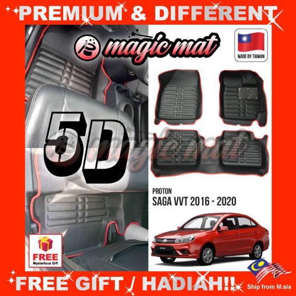 [FREE GIFT Gift] PROTON SAGA VVT 2016 - 2020 (5 Seater) MAGIC MAT 5D OEM PU Leather Floor Mat Anti-Slip Easy Clean Carpet