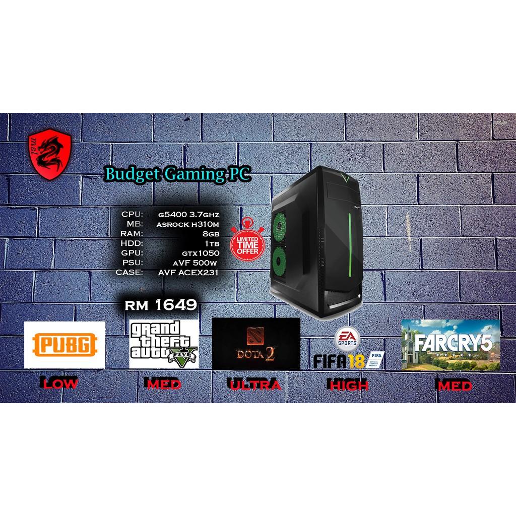 Full Set Budget Gaming Pc Desktop Cpu Shopee Malaysia 1 Komputer