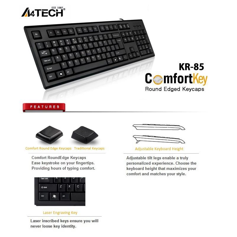 A4Tech KR-85 Comfort Roundege Keyboard USB/Black/US Layout Wired Keyboard