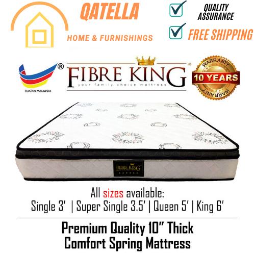 "QATELLA Fibre King Premium Quality Comfort Spring Mattress 10"" inch Thickness Fiber King Tilam Bed Made in Malaysia"