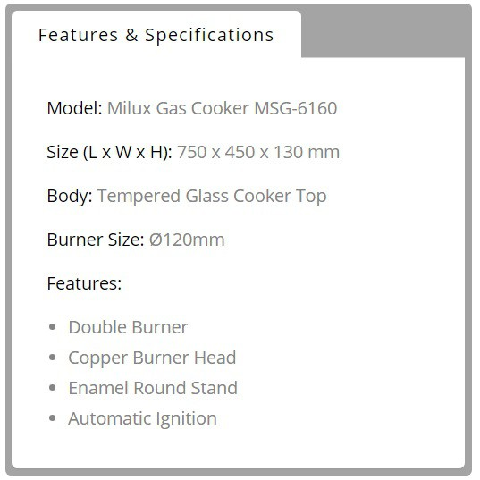 Milux Tempered Glass Cooker Top Gas Stove Gas Cooker - MSG-6160