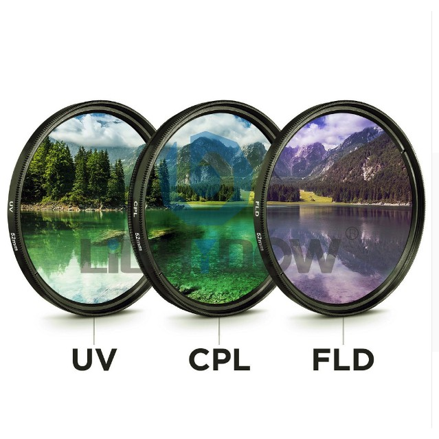 3 in 1 37 40.5 43 46 49 52 55 58 62 67 72 77mm Lens UV FLD CPL Digital Filter Lens for Canon for Nikon DSLR SLR Camera with Box ND UV CPL Filter 46mm