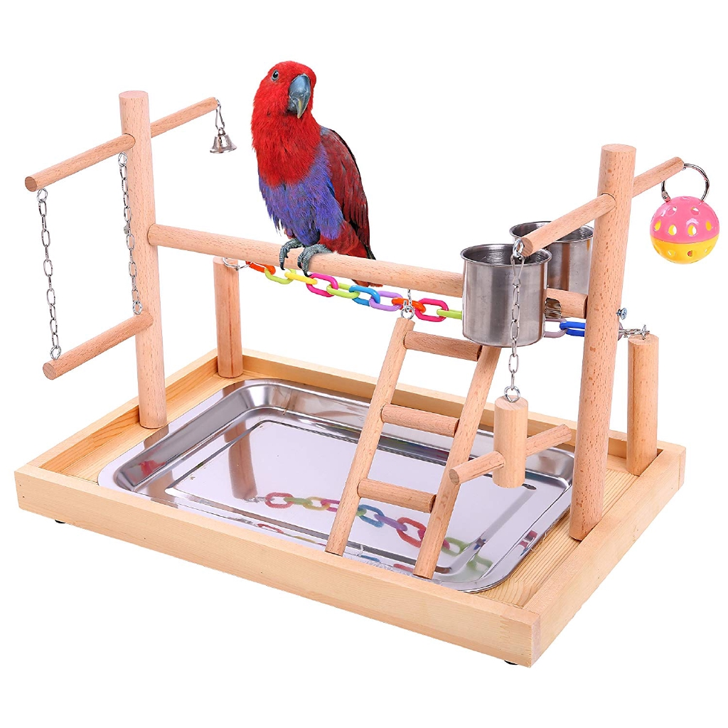 N//L Wood Bird Perch Parrot Stand Natural Wood Perches Paw Grinding Stick Canaries Platform Chew Toy for Finches Budgies and More Small Size Birds