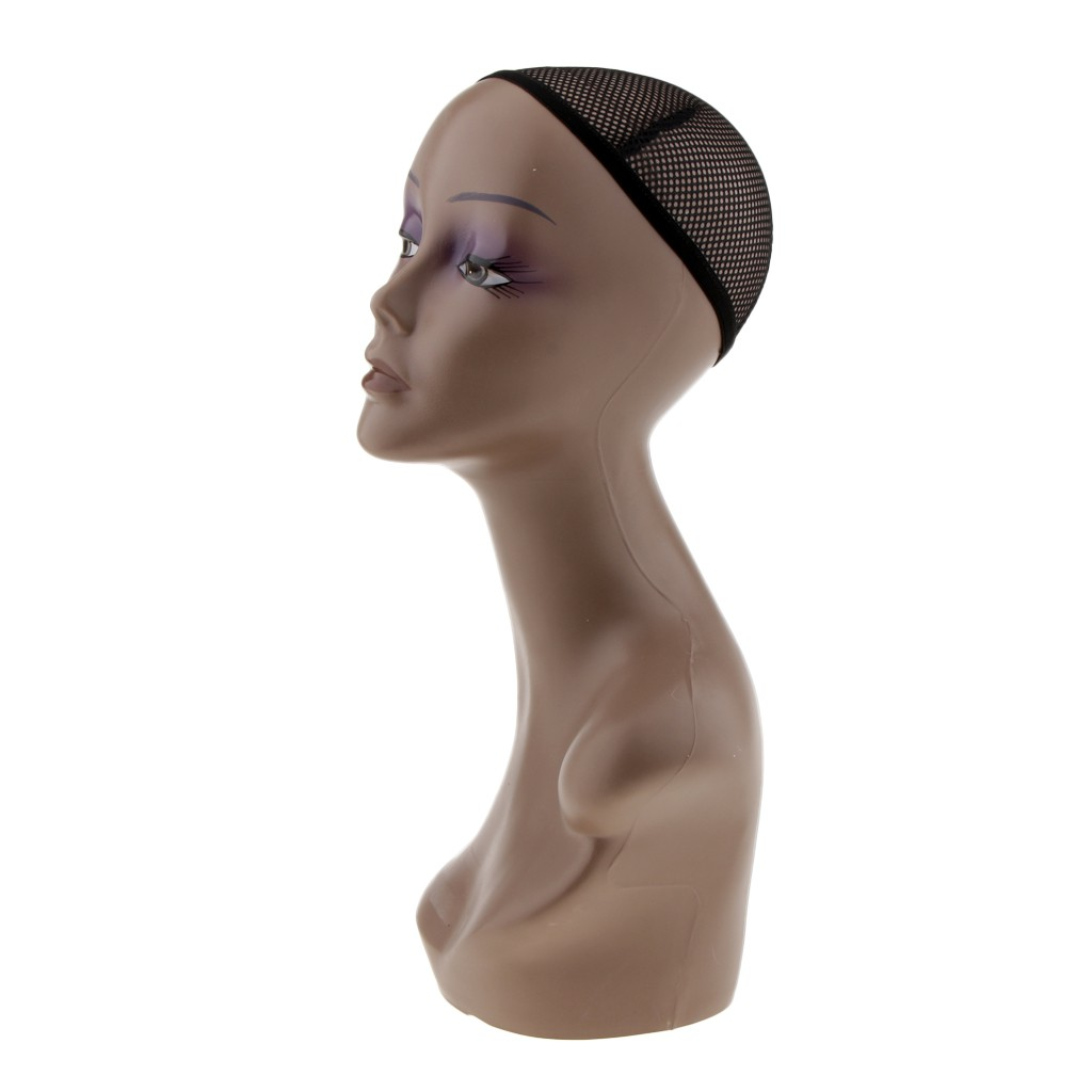 Female Plastic Mannequin Head Wig Hat Earring Necklace Display Model+Net Cap