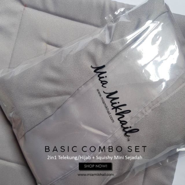 Basic Combo Set: MIA MIKHAIL 2in1 Telekung/Hijab + Squishy Mini Sejadah