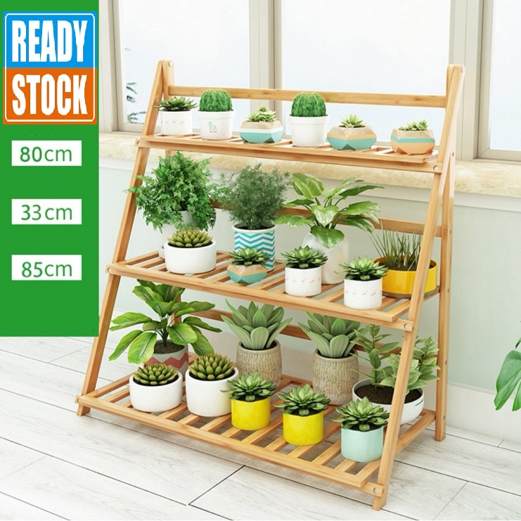 [ READY STOCK ]  Wooden Balcony Flower Stand Shelf Pot Wood Flower Rack Garden Bunga Storage Jualan Murah Simpanan Box