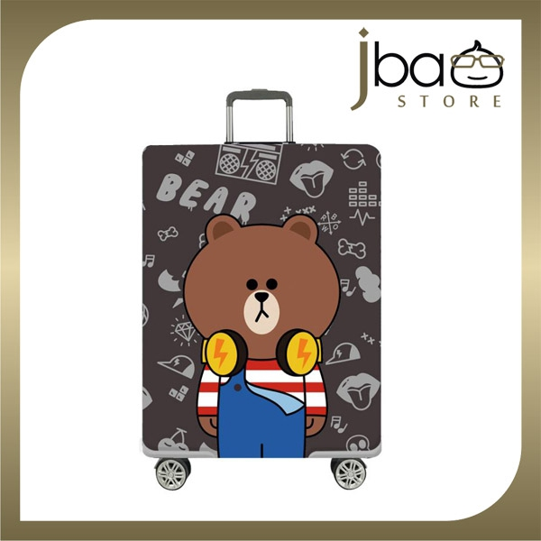 D.Beaner Elastic Travel Luggage Suitcase Protector Cover Brown Bear