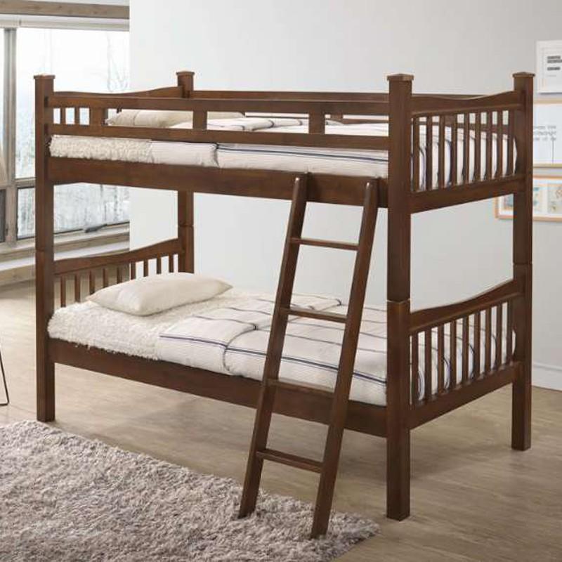 998 Solid Wood Double Decker Bunk Bed- Walnut