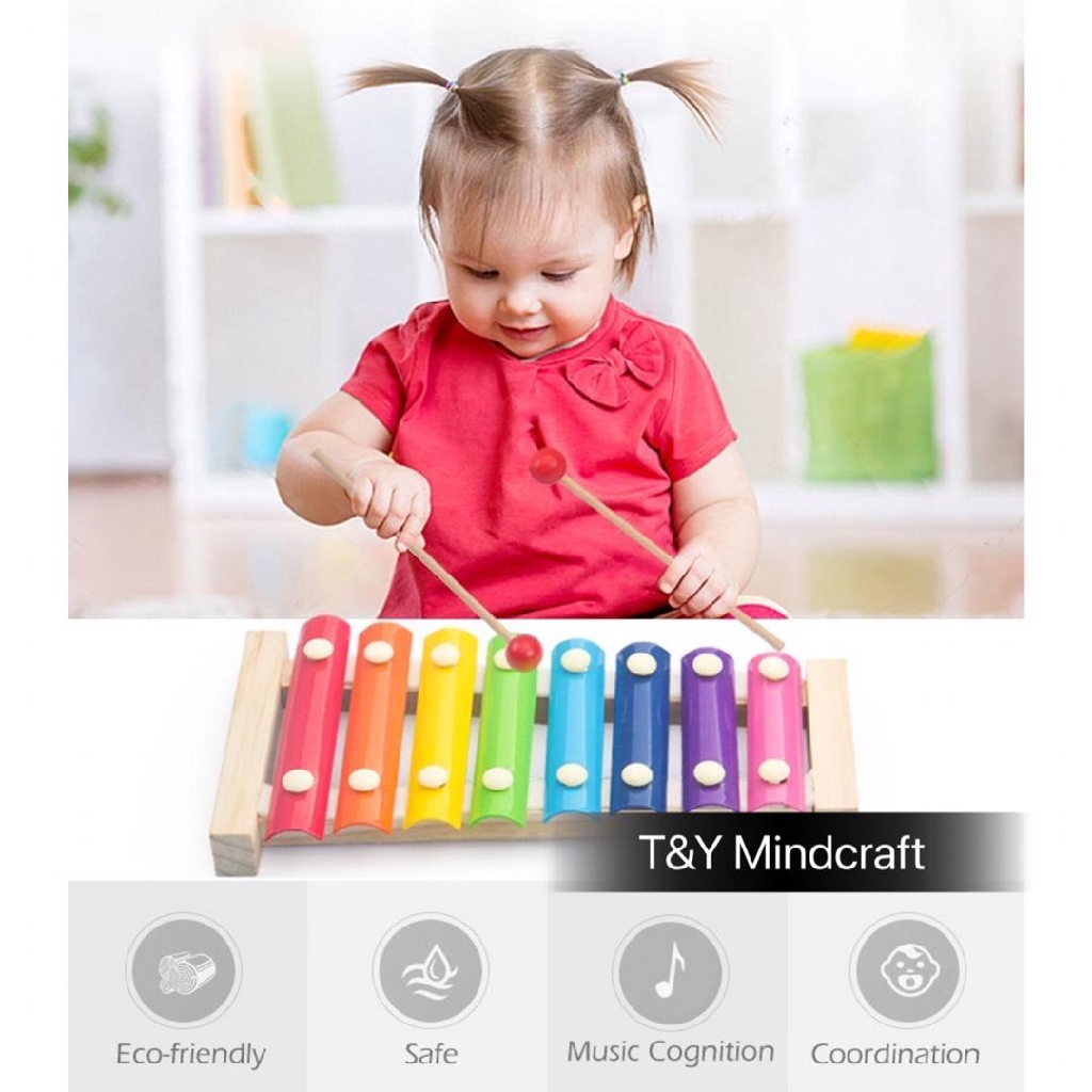 [TNY] Wooden 8-Note Xylophone Musical Instrument Piano Baby Toy 敲琴