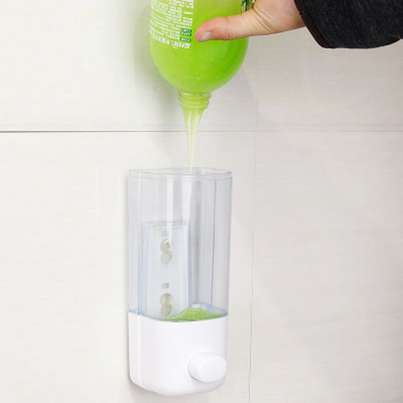 500ml Bathroom Soap Dispenser Wall Mounted Self-Adhesive Shampoo Container