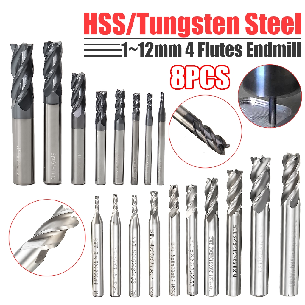 8X 2-12mm 4 Flutes Carbide End Mill Set Tungsten Steel Milling Cutter Tool Hot