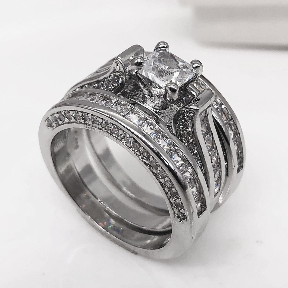 d024f9cbb3179 3-in-1 Womens Vintage White Diamond Silver Engagement Wedding Band Ring Set