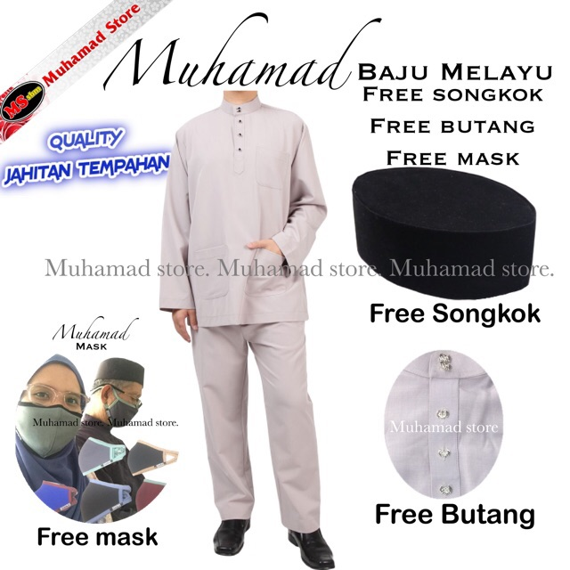 Muhamad Store Baju Melayu Sepasang + Free Songkok + Butang + Mask