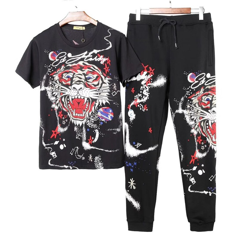 Men Hoodie Tracksuit Sport Jacket Sweater Suit Set Trousers Embroidery Tige
