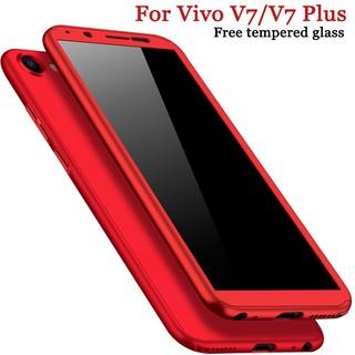 For Vivo V7/V7 Plus Case 360 Shockproof Matte Hard Casing【Free Tempered Glass