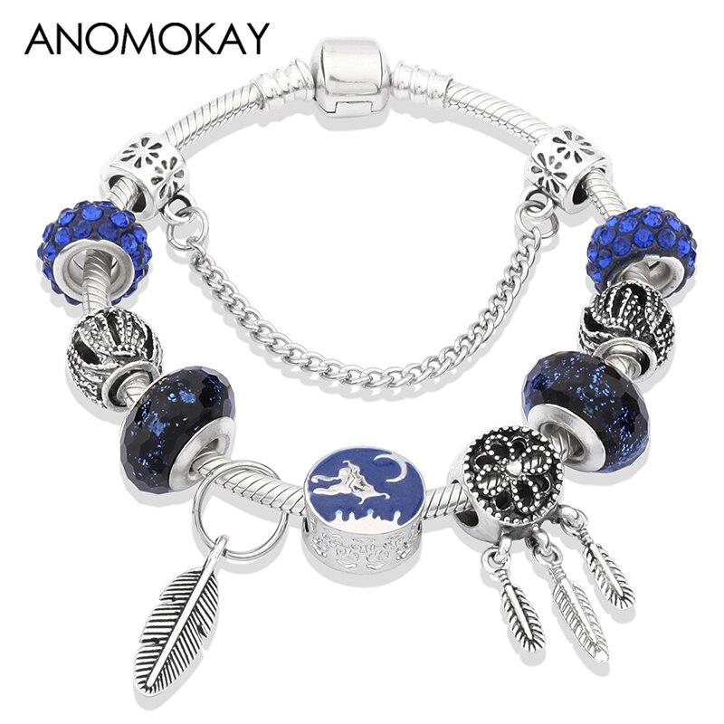 Tree Of Life Charm Bracelet Antique Silver Color Flower Beads Bracelets /& Bangles Jewelry Gift Purple 19cm