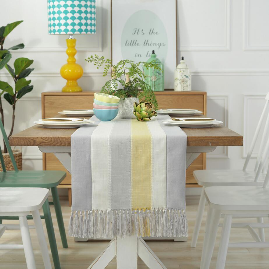 Linen Dining Table Runner Striped Coffee Table Flag Holiday