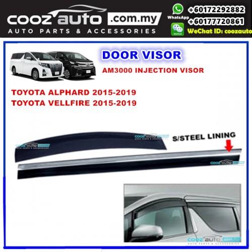 Toyota Alphard Vellfire ANH30 2015 - 2019 Window Door Visor With S steel  Lining